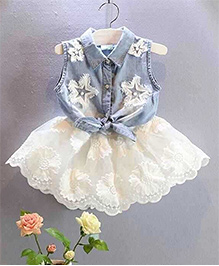 Pre Order - Tiny Closet Denim Front Knot Top With Chiffon Skirt  - White & Blue