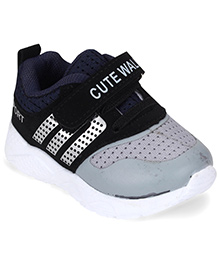Cute Walk by Babyhug Casual Shoes With Velcro Closure - Black & Grey
