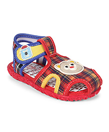 Footfun Sandals With Velcro Closure Teddy Motif - Red Blue White
