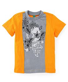 UCB Half Sleeves Printed T-Shirt - Orange & Grey