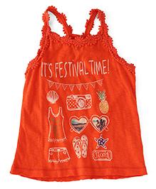 UCB Sleeveless Festival Time Print Racer Back Top - Orange