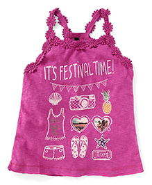 UCB Sleeveless Festival Time Print Racer Back Top - Pink