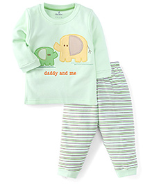 Child World Full Sleeves T-Shirt And Leggings Set Daddy And Me Patch - Green