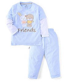 Child World Full Sleeves T-Shirt And Leggings Set Teddy And Bunny Patch - Blue