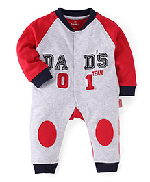 Child World Full Sleeves Romper Dads No 1 Patch - Red