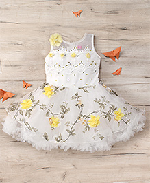 M'Princess Floral Party Dress - Yellow