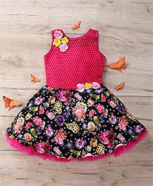 M'Princess Flower Print Party Dress - Pink