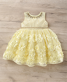 M'Princess Sleeveless Dress With Floral Print - Light Yellow