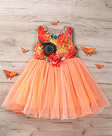 M'Princess Flower Applique Dress - Peach