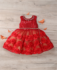 M'Princess Sleeveless Dress With Floral Print - Red