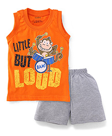 Babyhug Little But Loud Printed Sleeveless Night Wear Set - Orange & Grey