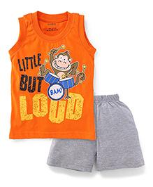 Babyhug Little But Loud Printed Sleeveless Night Wear Set - Orange & Grey