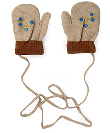 Model Mittens With Rhinestone Embellishments - Beige & Brown