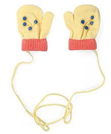 Model Mittens With Rhinestone Embellishments - Yellow