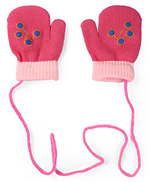 Model Mittens With Rhinestone Embellishments - Pink