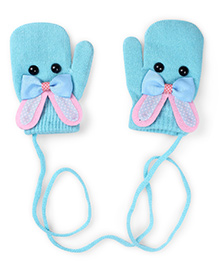 Model Mittens With Bunny Design - Cyan Blue