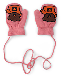 Model Mittens With Bear Patch - Pink & Brown