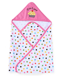 Pink Rabbit Hooded Dotted Towel Cup Cake Embroidery - Pink White