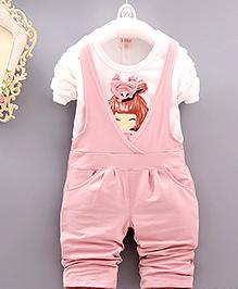 Pre Order - Aww Hunnie T-Shirt & Dungaree Set - Pink