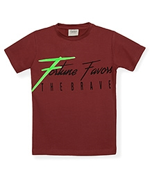 Tonyboy Boys Fortune Favors The Brave Printed T-Shirt - Maroon