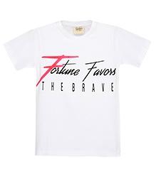 Tonyboy Boys Fortune Favors The Brave Printed T-Shirt - White