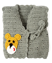 Mayra Knits Teddy Bear Front Open Tie Up Jacket - Grey