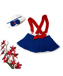 Mayra Knits Little Sailor Skirt & Cap - Red Blue & White