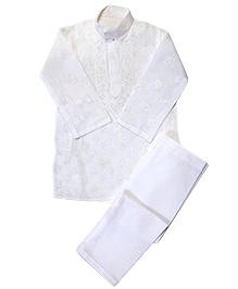 M'andy Chikankari Embroidered Traditional Kurta Pyjama - White