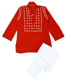 M'andy Chikankari Embroidered Traditional Kurta Pyjama - Orange