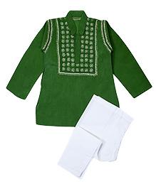 M'andy Chikankari Embroidered Traditional Kurta Pyjama - Green