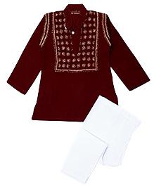 M'andy Chikankari Embroidered Traditional Kurta Pyjama - Wine