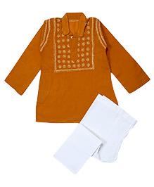 M'andy Chikankari Embroidered Traditional Kurta Pyjama - Mustard