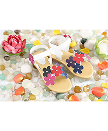 LCL Sandals Flower Motifs - White