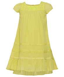 Miyo Short Sleeves Solid Color Cotton Frock - Green