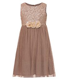 Miyo Sleeveless Polyester Party Dress With Embellishments - Beige