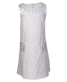 Miyo Cotton And Linen Sleeveless Party Dress - Silver