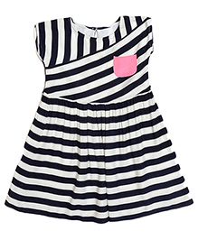 Miyo Sleeveless Viscose Frock With Stripes - Blue & White