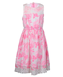 Miyo Sleeveless Cotton Frock With Floral Print - Pink & White