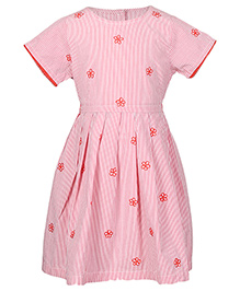 Miyo Short Sleeves Striped Cotton Dress With Floral Embroidery - Red & White