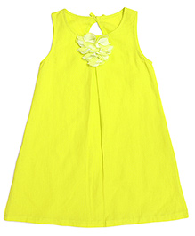 Miyo Sleeveless Linen Frock With Floral Applique - Neon Green