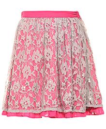 Miyo Nylon Skirt With Net Layer - Grey & Pink
