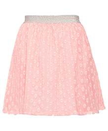 Miyo Pink Floral Embroidered Polyester Skirt - Pink