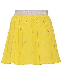 Miyo Pink Floral Motifs Cotton Skirt - Yellow