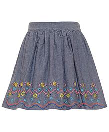 Miyo Solid Color Skirt With Designer Hem Line - Grey & Blue