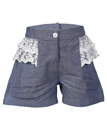 Miyo Cotton Shorts With Lace Detailing - Grey Blue