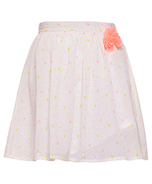 Miyo Polyester Skirt With Floral Applique - White