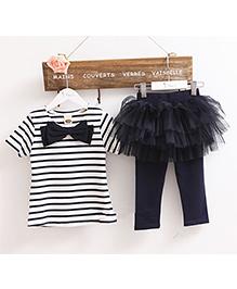 LivFuture Striped Top With Attached Tutu Skirt Capri - Black