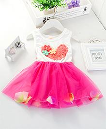 LivFuture Elegant Floral Dress - Dark Pink