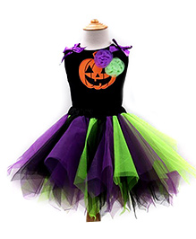 Pre Order - Adores Halloween Costume With Pumpkin Smiley Face - Black
