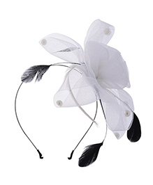 Angel Closet Feather Fascinator Hair Band - White